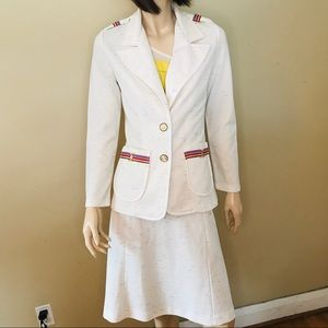 Vintage Career Suit! White and Rainbow Detail
